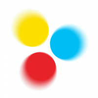 Logo of The Buddhist Centre Online with three colored discs in dynamic motion, yellow, red and blue, representing the Three Jewels of Buddhism - the Buddha, the teaching of the Dharma and the community that practices it together (the Sangha)